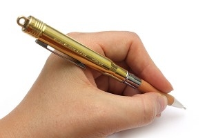 A hand which writes an essay with a pen